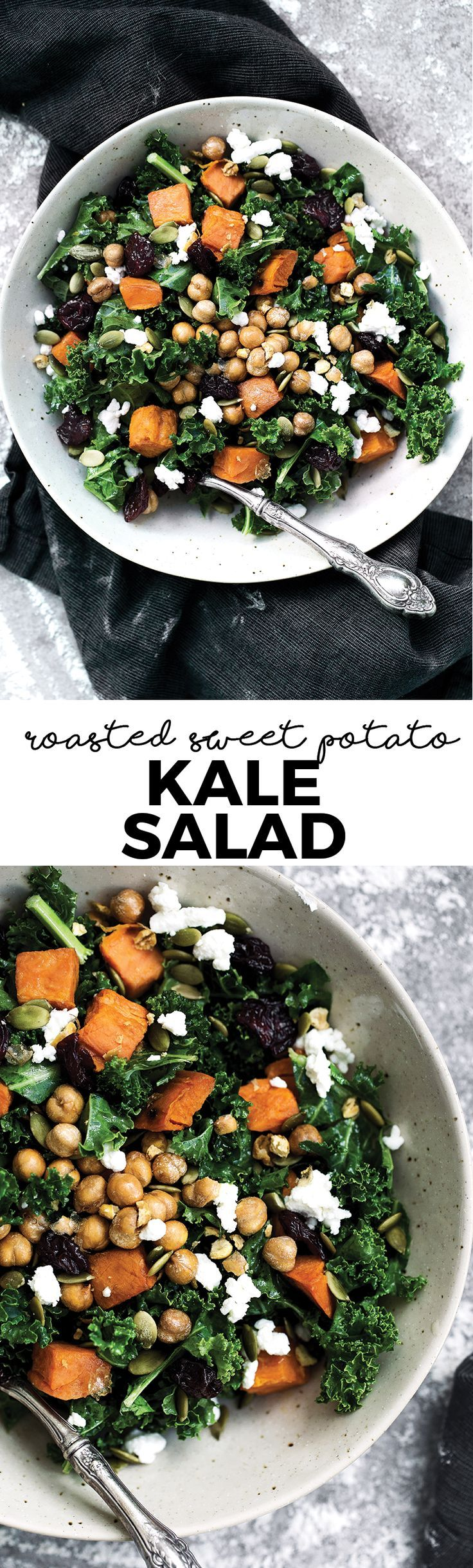 This Roasted Sweet Potato Kale Salad with Dried Cherries, Feta & Pepitas is everything you've ever wanted in a winter salad!