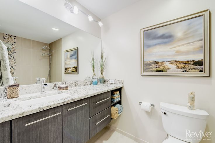 This custom vanity added much needed storage to this master bathroom.