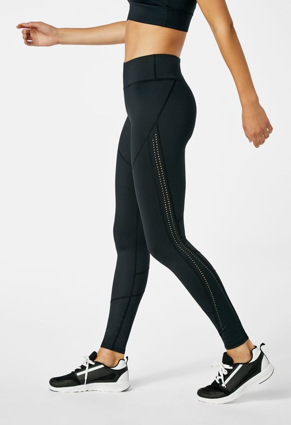 8c0742541 Side Panel Perforated Active Leggings in Black - Get great deals at JustFab