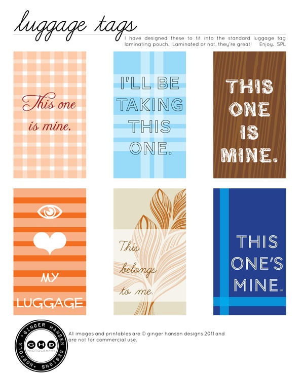 printable luggage tags.  FREE.