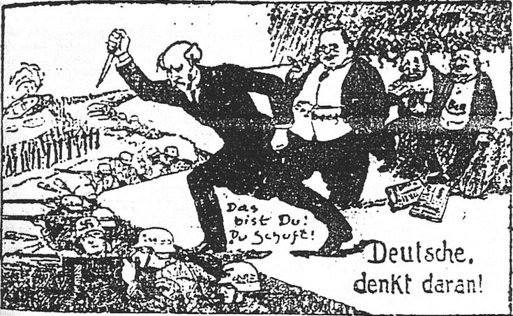 A 1924 right-wing German political cartoon showing Philipp Scheidemann, the German Social Democratic politician who proclaimed the Weimar Republic and was its second Chancellor, and Matthias Erzberger, an anti-war politician from the Centre Party, who ended WWI by signing the armistice with the Allies, as stabbing the German Army in the back