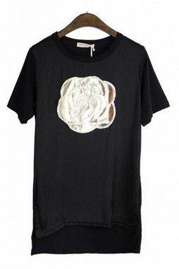GrabMyLook Gold Rose Black Beige Round Neck Chiffon Cotton T-Shirt