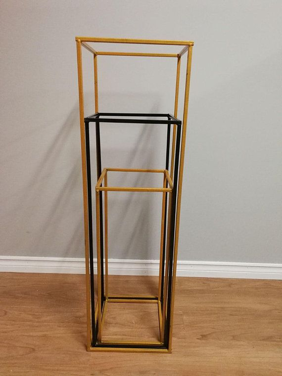 Sale 24 32 40 Modern Rectangle Stand Metal Gold Geometric Vase Metal Frame Tall Stand Four Rod Stand Metal Vase Metal Vase Metal Riser Vases Decor Large Glass Vase Geometric Vases