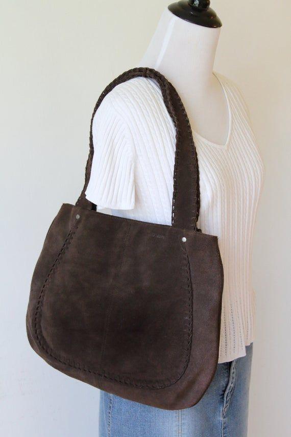 RALPH LAUREN Polo Jeans Leder Tote Bag / braun Wildleder Tote Handtasche / Lauren Tote Geldbörse