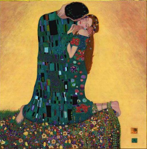 Klimt paintings | oil painting kiss ii by artist gustav klimt paintings id