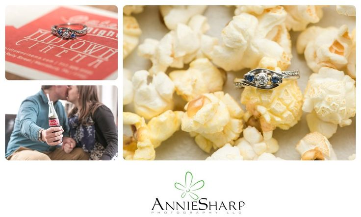 Movie theater engagement session | popcorn and ring details | Harrisburg Pa wedding and engagement session | love | weddings