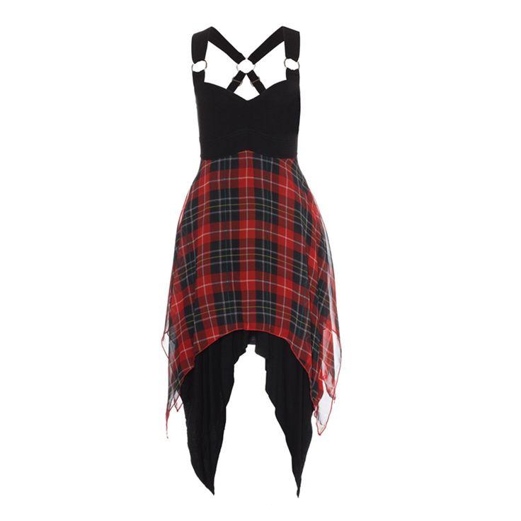 tartan chiffon dress #Glamrock #Punk www.attitudeholland.nl