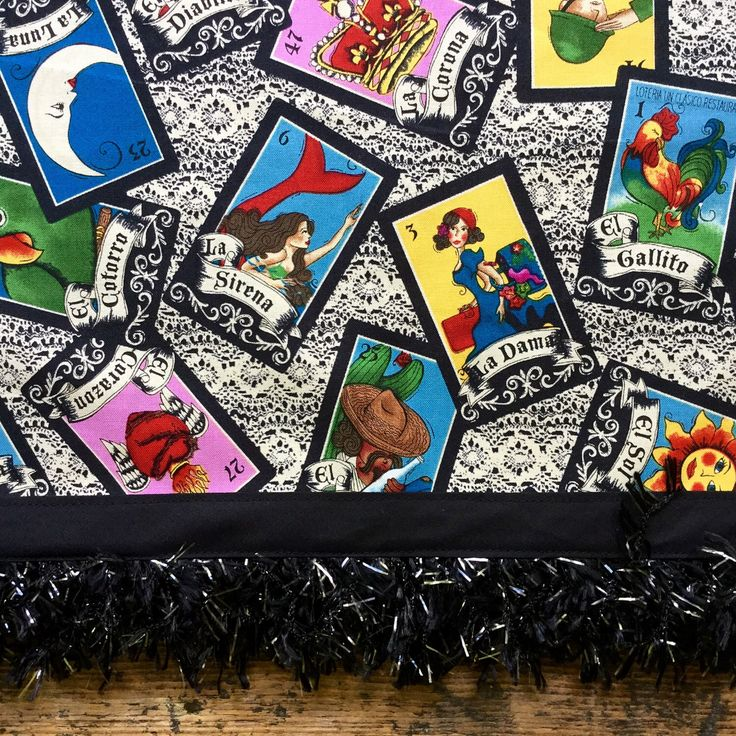 A personal favorite from my Etsy shop https://www.etsy.com/listing/454628882/mexican-tablecloth-loteria-cards