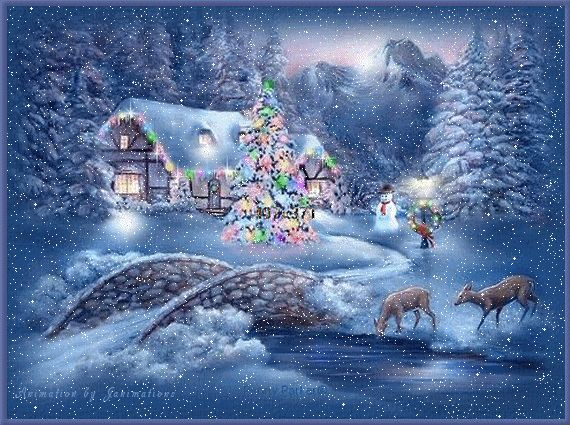 animatede gif christmas scenes | This is an original painting by