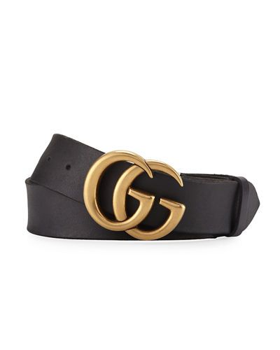 06380bef5f4 GUCCI MEN S LEATHER BELT WITH DOUBLE-G BUCKLE.  gucci