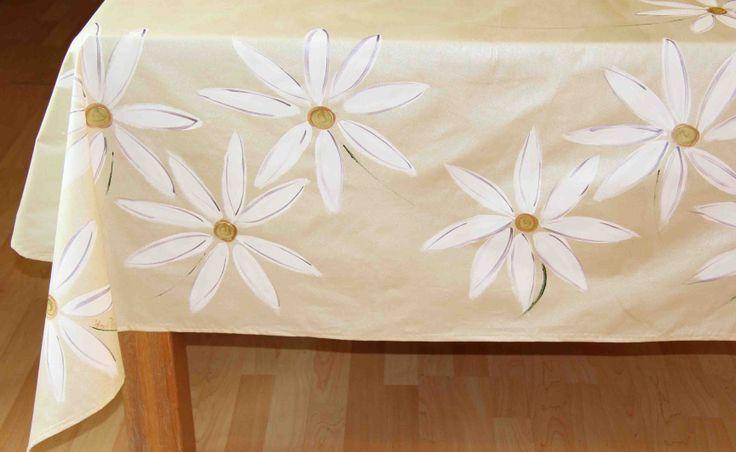 Daisy daisy slightly lightly gold - hand painted table cloths by dana. dmgdesigns.co.za or facebook