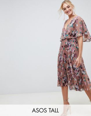 c5e00dc404645 ASOS DESIGN Tall flutter sleeve midi dress with pleat skirt in floral print