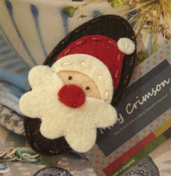 Santa Father Christmas wool felt hair clip , made these last Christmas so cute with little girls' holiday dresses