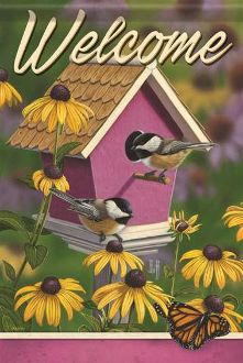 Welcome/Chickadee House Garden Flag FlagTrends CLASSIC FLAGS by Carson