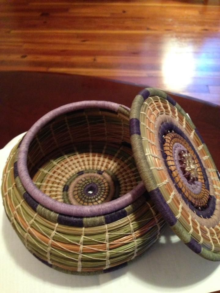 Purple basket with lid