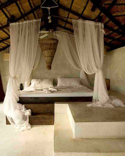 Rustic Vacation Tropical Getaway Canopy Idea   It's no big surprise that this room is in a spa (the Coqui Coqui Spa in Tulum, Mexico), but you could recreate it at home with giant branches and sheer sheets. From Elle Decor.   http://www.elle.com/fashion/spotlight/chic-winter-getaway-coqui-coqui-spa-residence-resort-391579#slide-1