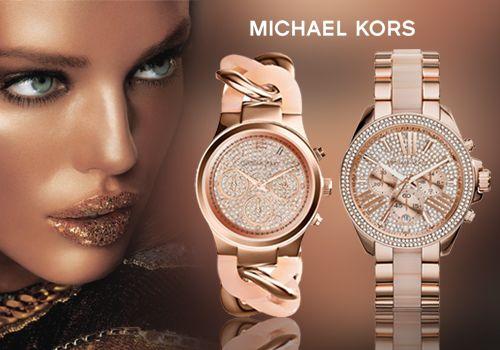 Γυναικεία ρολόγια Michael Kors σε ροζ χρυσό ατσάλι & κρύσταλλα με Έκπτωση έως -42%