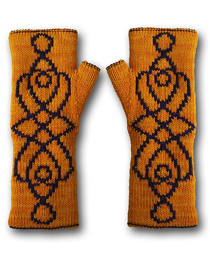 Ravelry: Yasmin fingerless Mittens pattern by Kalinumba ... double knit technique so they are reversible ... other side pinned nearby
