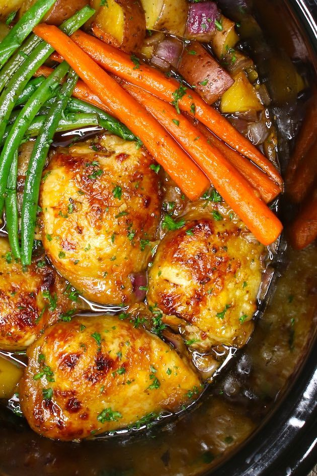 Chicken Thighs And Veggies Are Cooked In A 6 Quart Slow Cooker Crockpot Chicken Thighs Slow Cooker Chicken Thighs Chicken Thigh Recipes Crockpot