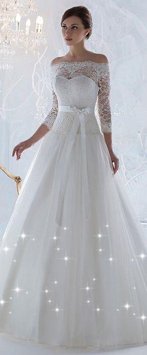 Grogeous Lace & Tulle Off-the-Shoulder Neckline A-line Wedding Dresses