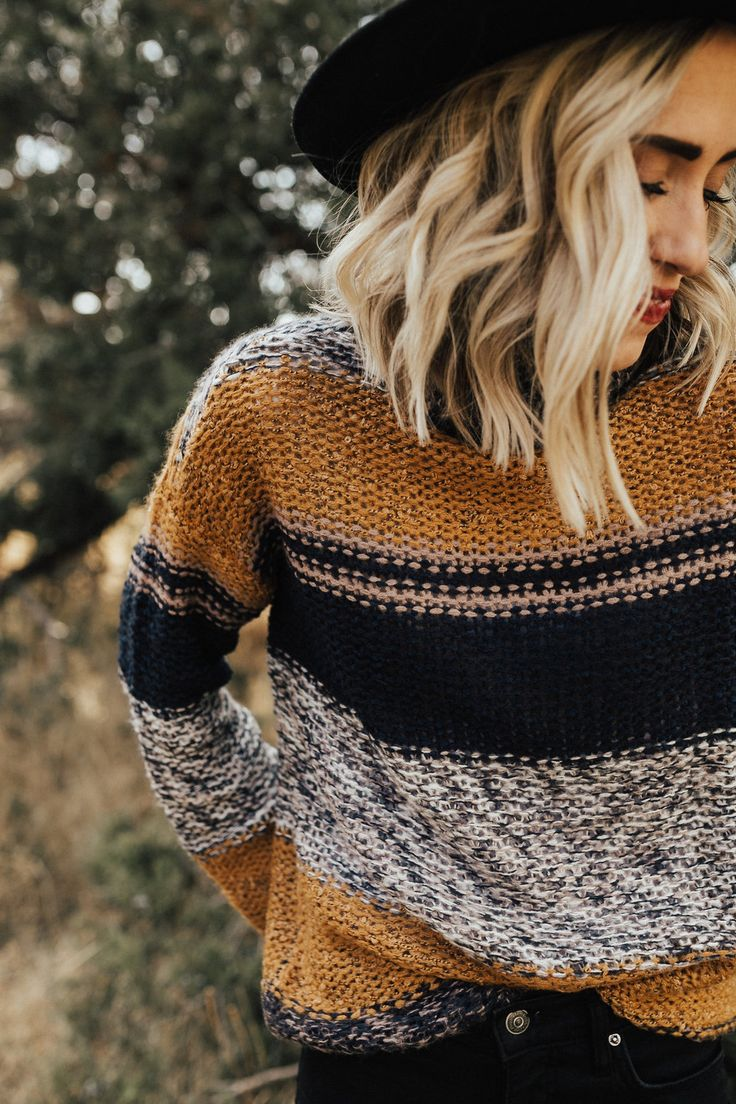 fall sweaters | stripes | hats | blonde cut | short hair | waves | blacks and grays | fall colors