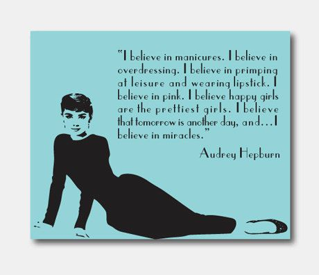 celebrity wall art audrey hepburn 8 x 10 print i believe in miracles i believe in pink pink tiffany blue room decor