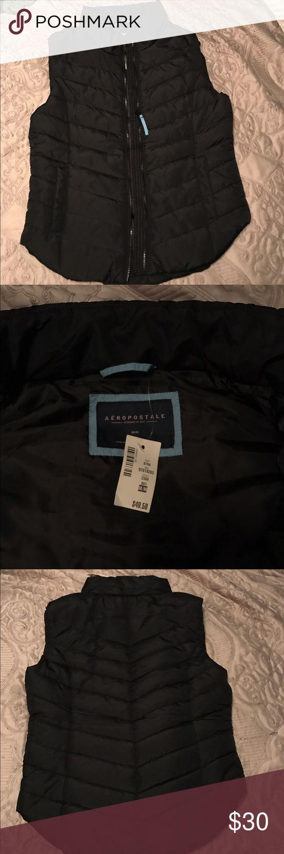 Black zip up light puffer vest Brand new black zip up puffer vest. Lightweight, never worn. Excellent condition Aeropostale Jackets & Coats Vests