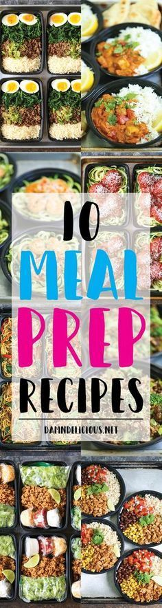 10 Meal Prep Recipes - Quick, simple meal prep ideas that are not boring at all! Prep for the week ahead for chicken burrito bowls, lo mein and Korean beef!