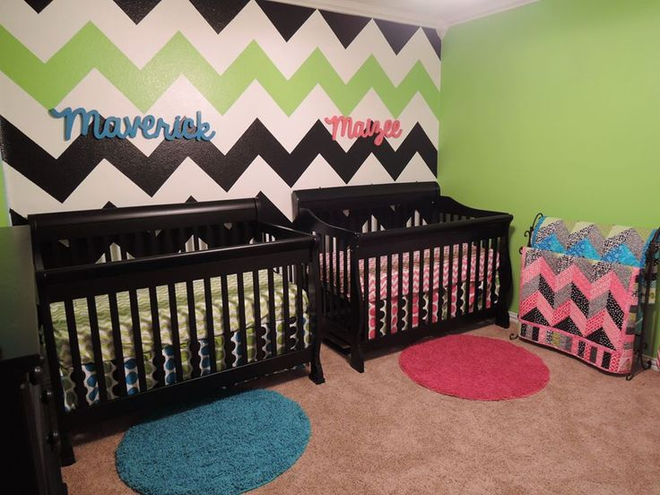 Chevron wall in boy/girl twins nursery