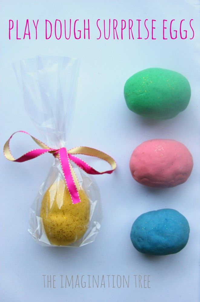 Homemade play dough surprise eggs for easter with mini animal habitats inside for small world play fun!