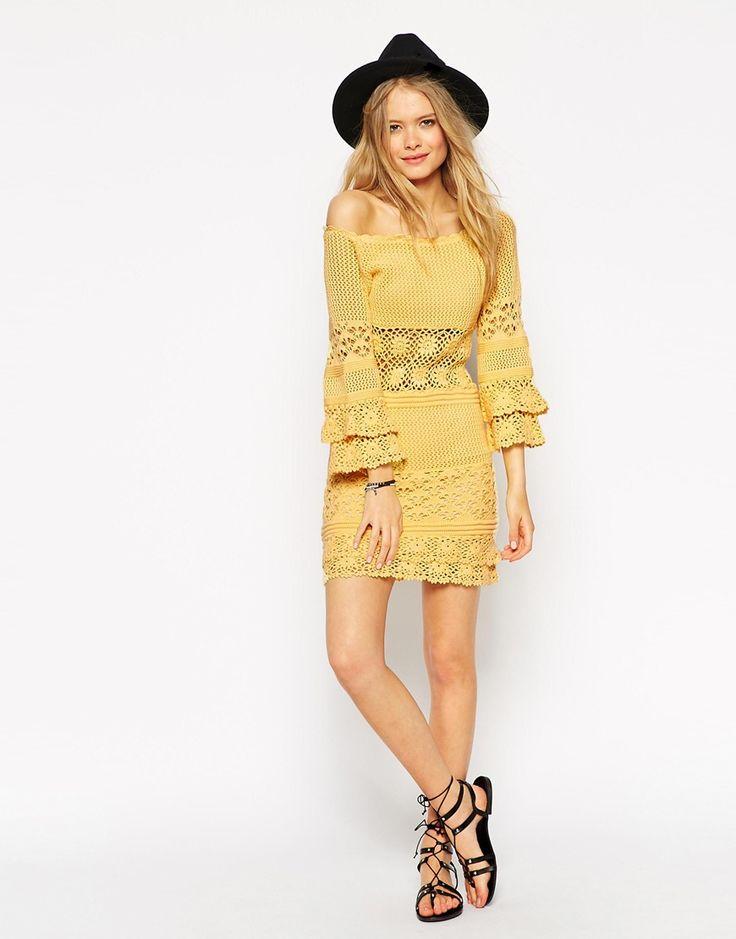 Image 4 ofASOS PETITE Crochet Dress With Off Shoulder