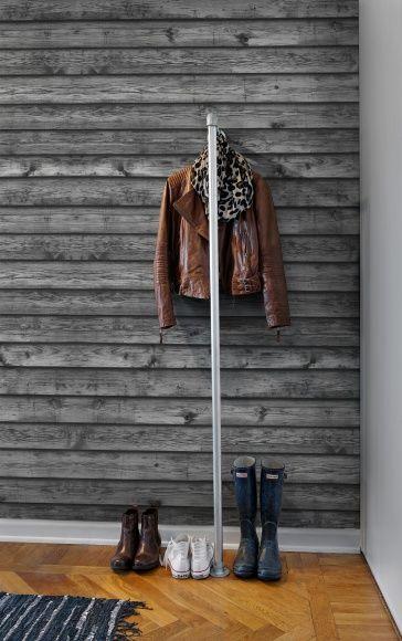 #wallpaper - Horizontal Boards, black - rebelwalls.com