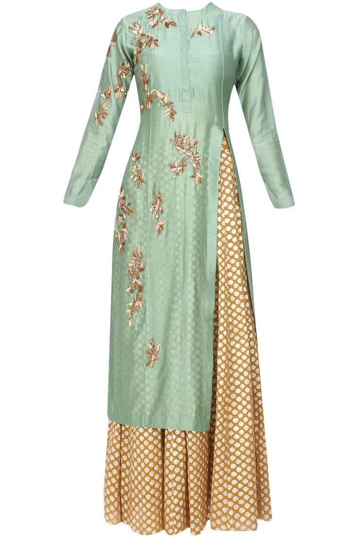 Joy Mitra pistachio green chanderi silk long kurta with gold lengha and floral embroidery work
