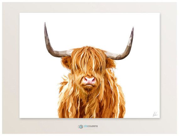 Highland Cow, Modern Digital Painting, Scotland Print, Animal Illustration