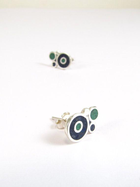 Sterling Silver Earrings  Blue and Green  by maldonadojoyas, $24.00