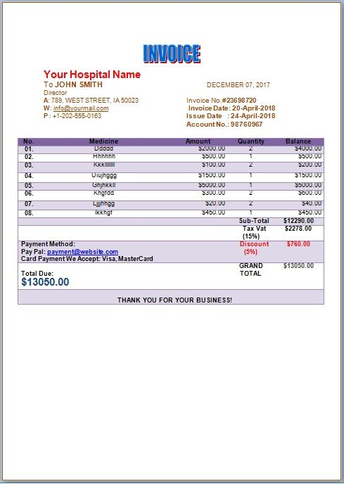 Hospital Invoice Template Medical Invoice Template Pinterest