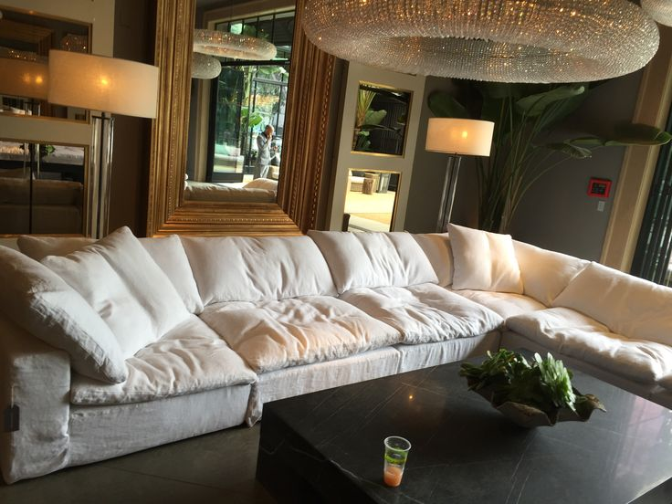 "This is our first choice for the sectional sofa. Restoration Hardware sofa. The SOFTEST ever. Cloud L sectional. $8870. 177"" W- 132 1/2"" D - 311/2"" H"