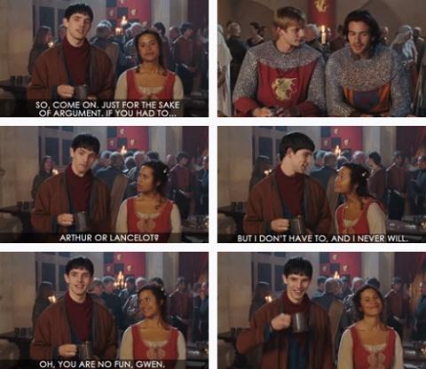 Merlin and Gwen... Woah. I forgot that happened...