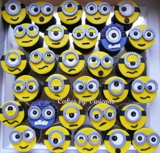 Minion Cupcakes, Despicable Me Cupcakes, Minion Cupcake Toppers, Cupcake Minions