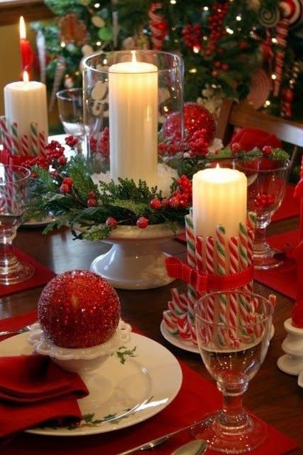 Christmas Candles for the dinner table:
