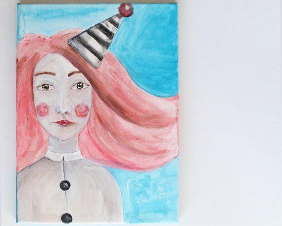 ORIGINAL painting Acrylic painting Pierrot by NataliesWunderland