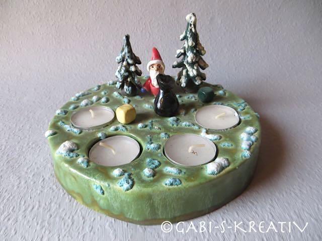 Adventskranz,Teelichthalter,  Weihnachten, aus Ton von Garten- und Hauskeramik von GABI-S-KREATIV auf DaWanda.com