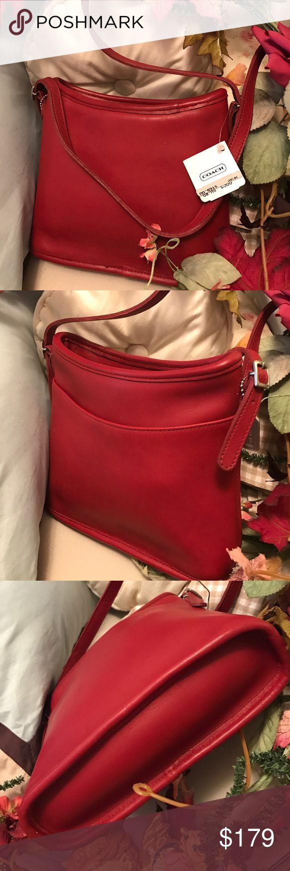 Coach Vintage New, Old Stock Red Shoulder Bag On the small side, vintage coach bag, new with tags. Made in USA, gorgeous dark cherry red color. Coach Bags Shoulder Bags
