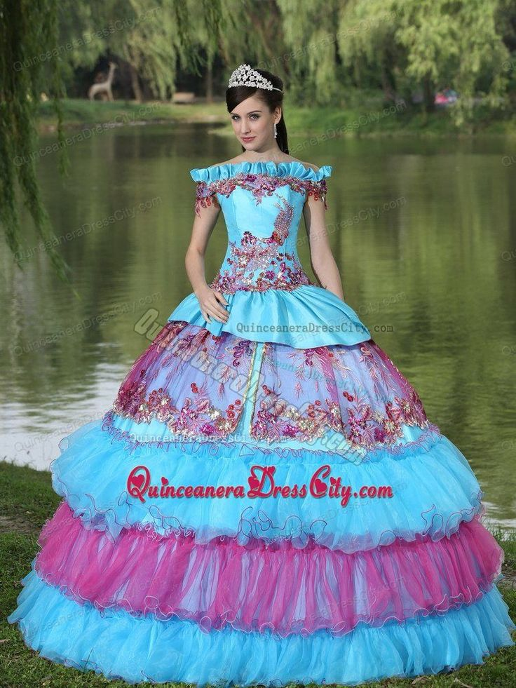 Multi-color Off The Shoulder Appliques Layers Ball Gown Sweet 15 Dress - http://m.quinceaneradresscity.com