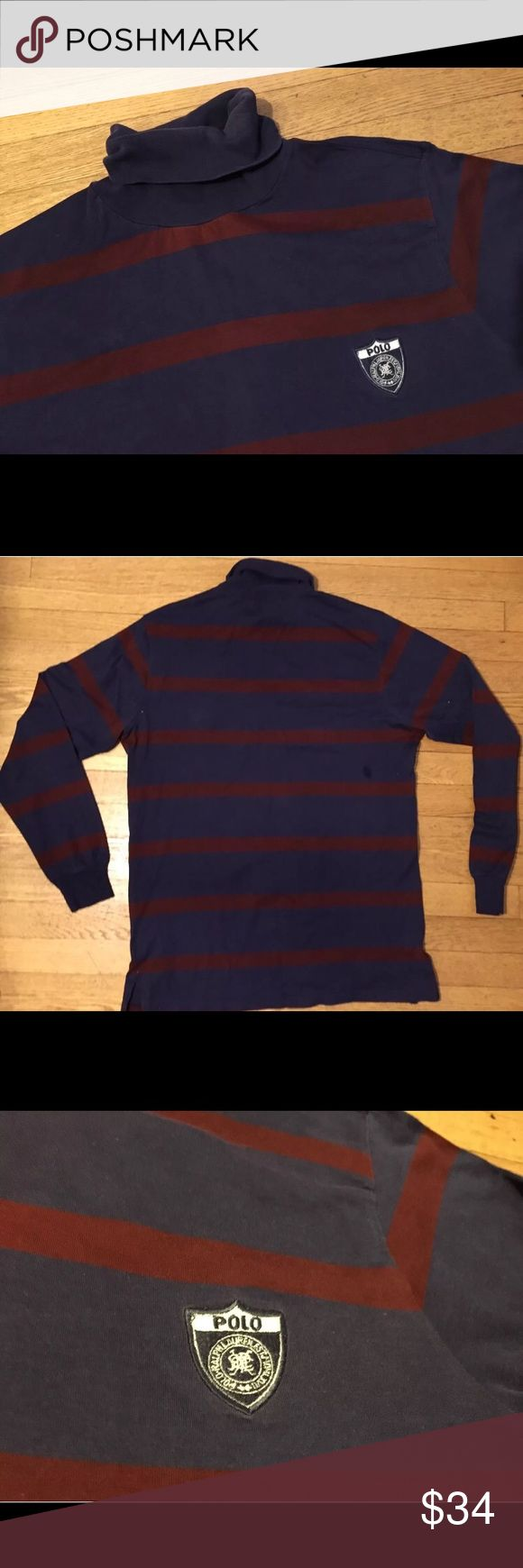 "VTG RALPH LAUREN POLO MENS TURTLENECK SHIRT   L Super nice vintage 1990s polo Ralph Lauren fine cotton turtleneck t shirt. It has the iconic crest in the chest and has a nice old school blue and red striped design. It's clean with no rips or holes- there is a superficial mark at the fold in the turtleneck but nothing major. From pit to pit is 21"" and from under the back fold to the back bottom is 28"" Polo by Ralph Lauren Shirts Tees - Long Sleeve"
