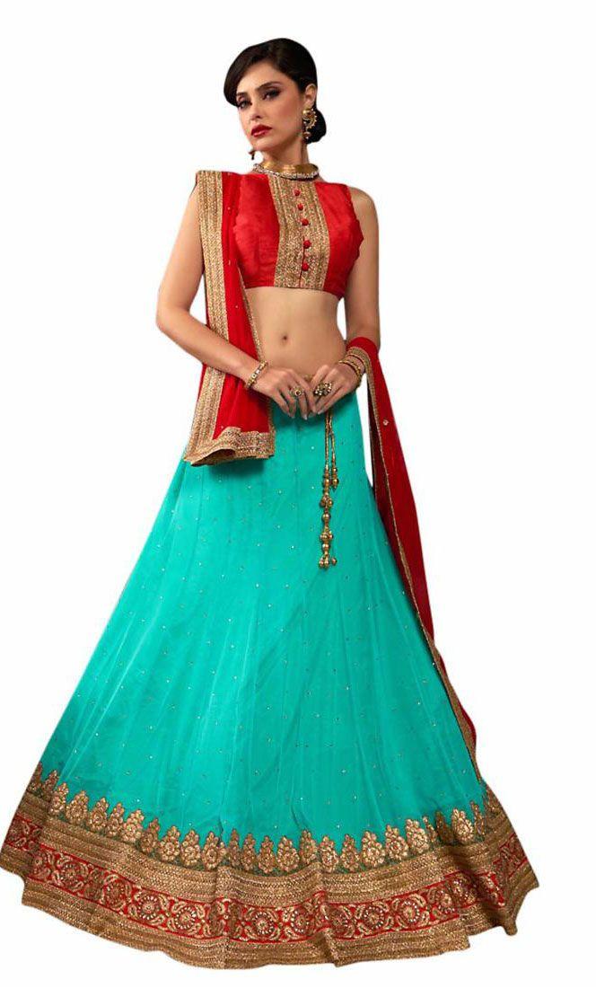 Greenish Blue Lehenga Choli Set