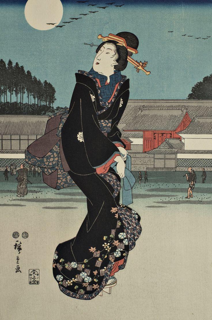 """Ukiyo-e """"Blick auf den Mond in Tokyo"""" Teil eines Triptychons. Künstler: Utagawa Hiroshige Nähere Erläuterungen finden Sie auf der u.a. Website."""