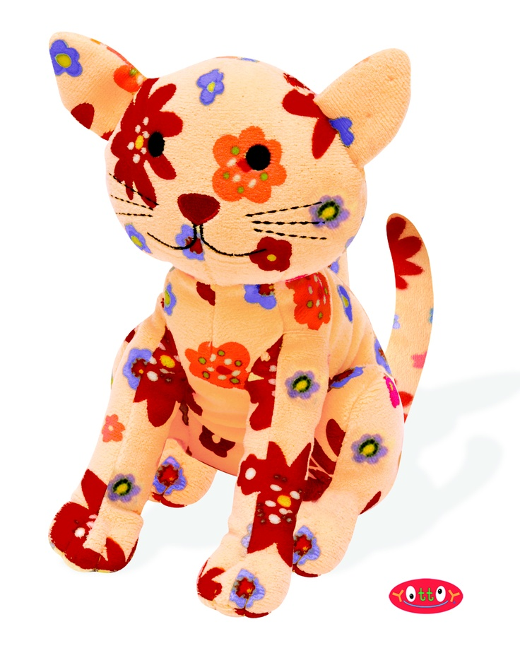 "Rudy Cat Soft Toy 7""  These soft toys, made of super soft colorfully printed velour with embroidered and hand-sewn details, are perfect for hugging, holding and gift giving!   Rudy the Cat hides and chases butterflies, and is delightfully patterned in warm garden tones.    Item #84308  $17.00"