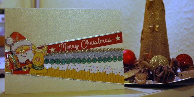 Handmade Christmas card with Santa and various washi tapes.