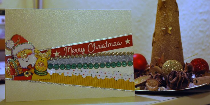 Handmade Christmas card with Santa and various washi tapes.